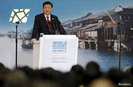 China's President Xi Jinping speaks during the opening ceremony of the 2nd annual World Internet Conference in Wuzhen town of Jiaxing, Zhejiang province, China, December 16, 2015.