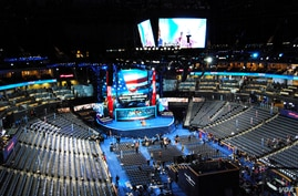 The floor of the Democratic National Convention on Tuesday, September 4. (J. Featherly/VOA)