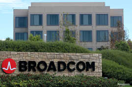 A sign to the campus offices of chipmaker Broadcom Ltd, who announced on Monday an unsolicited bid to buy peer Qualcomm Inc for $103 billion, is shown in Irvine, California, Nov. 6, 2017.