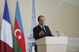 French President Francois Hollande delivers a speech during his visit to Baku, Azerbaijan, May 11, 2014.