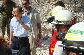 United Nations Secretary-General Ban Ki-Moon inspects the damage at the U.N. Headquarters in Port-au-Prince, 17 Jan 2010