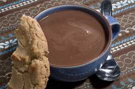 A cup of hot cocoa is seen on a table in Concord, New Hampshire.