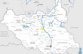 World Food Program Executive Director will visit the town of Ganyiel (highlighted in yellow) and an island in the nearby Sudd marshes during a visit to Unity state in South Sudan on Saturday, March 21, 2015.