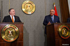 U.S. Secretary of State Mike Pompeo holds a joint press conference with Egyptian Foreign Minister Sameh Shoukry at the ministry of foreign affairs in Cairo, Egypt, Jan. 10, 2019.