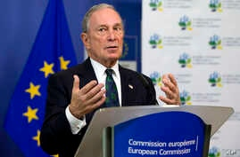Michael Bloomberg, U.N. special envoy for cities and climate change, speaks to reporters at EU headquarters in Brussels about cities' cooperative efforts to combat climate change, June 22, 2016.