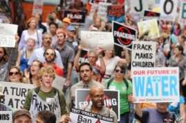 "Citizens march against fracking at the ""Shale Gas Outrage Rally"" in Philadelphia."