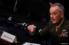 General Joseph Dunford, Chairman of the Joint Chiefs of Staff, testifies before the Senate Armed Services Committee on Capitol Hill in Washington, Sept. 26, 2017.