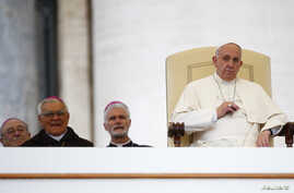 Pope Francis leads his weekly general audience in Saint Peter's Square at the Vatican November 12, 2014. REUTERS/Tony Gentile (VATICAN - Tags: RELIGION) - RTR4DUWP