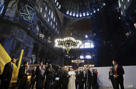 Pope Francis visits Haghia Sofia, the Byzantine church-turned-mosque that is now a museum, in Istanbul, Saturday, Nov. 29, 2014.
