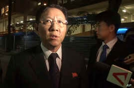In this image made from video, North Korean Ambassador to Malaysia Kang Chol speaks to the media gathered outside the morgue in Kuala Lumpur, Malaysia, Feb. 17, 2017.