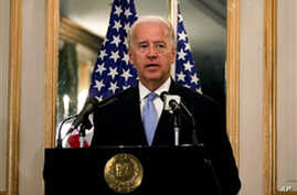 U.S. Vice President Joe Biden speaks during a press conference with Pakistani Prime Minister Yusuf Raza Gilani, unseen, at the Prime Minister's residence in Islamabad, Pakistan, Wednesday, Jan. 12, 2011. Biden met with Pakistan leaders as part of Ame