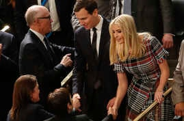 President Donald Trump's son-in-law and daughter Jared Kushner and Ivanka Trump arrive before the State of the Union address to a joint session of Congress on Capitol Hill in Washington, Jan. 30, 2018.