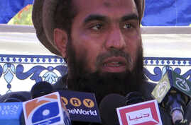 FILE - Pakistani Zaki-ur-Rehman Lakhvi speaks during a rally at Muzaffarabad, in Pakistani controlled Kashmir.