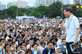 "Archbishop of Manila, Luis Antonio Tagle, delivers a message to the participants of the procession against plans to reimpose death penalty, promote contraceptives and intensify drug war during ""Walk for Life"" in Manila, Philippines, Feb. 18, 2017."