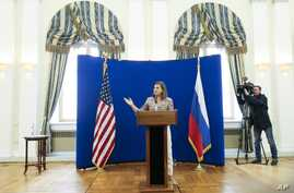 U.S. Assistant Secretary of State Victoria Nuland gestures during a press conference at Spasso House, the residence of the U.S. ambassador to Russia in Moscow, Monday, May 18, 2015.