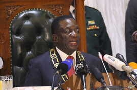 Zimbabwe's President Emmerson Mnangagwa is seen during his first State of the Nation address on Wednesday during which he vowed to ensure the rule of law, fight corruption, enact laws that attract investors and ensure free and fair elections next yea