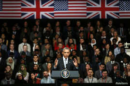 U.S. President Barrack Obama takes part in a Town Hall meeting at Lindley Hall in London, Britain, April 23, 2016.