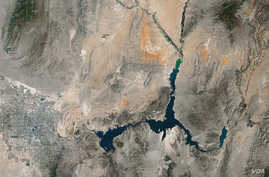 The image shows Lake Mead on the Nevada-Arizona state border at its lowest point ever, taken by the Thematic Mapper on the Landsat 5 satellite, May 2016.