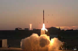 File - This Monday, Dec. 21, 2015 file photograph provided by the Israeli Ministry of Defense shows a launch of David's Sling missile defense system. A senior Israeli air force official says a joint U.S.-Israeli missile interceptor will be operationa