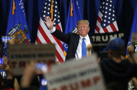 Republican presidential candidate, Donald Trump, arrives for a rally at Nathan Hale High School in West Allis, Wissonsin, April 3, 2016.
