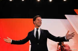 Dutch Prime Minister Mark Rutte of the VVD Liberal party appears before his supporters in The Hague, Netherlands, March 15, 2017. Rutte is poised for a third term.