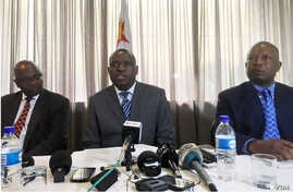 "Zimbabwe's new foreign minister, Sibusiso Moyo, addresses diplomats and the media in Harare, Zimbabwe, Dec. 2017. He says there are ""no angels"" that should dictate his country's foreign policy. (S. Mhofu/VOA)"