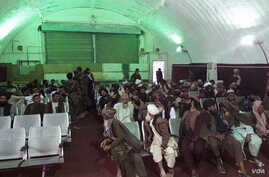 Prisoners freed during an Afghan Special Forces raid on Taliban prisons in Helmand province. (MOD)