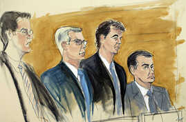In this courtroom sketch, Alejandro Burzaco, second from right, stands with his attorneys Sean Casey, second from left, and John Couriel, right, and prosecutor Samuel Nitze, left, July 31, 2015 in federal court in New York.