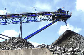 A conveyor belt carries ore extracted at Mimosa Platinum mine about 400km (249 miles) south of the capital Harare, Zimbabwe, Feb. 16, 2012.