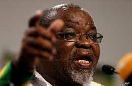 FILE - Gwede Mantashe, secretary-general of the Africa National Congress, speaks during the party media briefing in Johannesburg, April 5, 2017.