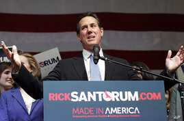 Republican presidential candidate Rick Santorum speaks at his election night rally at Steubenville High School, in Ohio, March 6, 2012.  (AP)