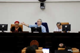 The president of the National Assembly Gustavo Porras talks at a parliamentary session on the approval of 100 million dollar loan from Taiwan for budget support, in the Nicaraguan parliament building in Managua February 19, 2019.