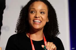"""FILE - Author Jesmyn Ward speaks at Book Expo America in New York, June 1, 2017. Ward's """"Sing, Unburied, Sing,"""" winner of the National Book Award for fiction, is a nominee for the National Book Critics Circle prize."""
