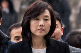 Culture Minister Cho Yoon-sun arrives at the Seoul Central District court in Seoul, South Korea, Jan. 20, 2017.