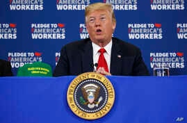 President Donald Trump speaks during a roundtable discussion on workforce development at Northeast Iowa Community College, in Peosta, Iowa, July 26, 2018.