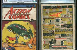"FILE - In this file image provided by Metropolis Collectibles/ComicConnect, Corp., shows the front and back cover of ""Action Comics No. 1"" from 1938, featuring the debut of Superman."