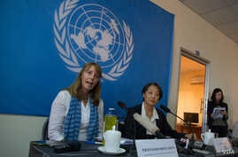 Professor Rhona Smith, United Nations Special Rapporteur, gives statement on the situation of human rights in Cambodia at office of the high commissioner for human rights on September 24, 2015. (Neou Vannarin/VOA Khmer)