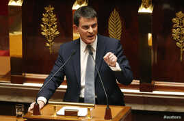 French Prime Minister Manuel Valls delivers a general policy speech at the National Assembly in Paris, April 8, 2014. New Prime Minister Manuel Valls will test France's political commitment to reform on Tuesday in a confidence vote that should allow
