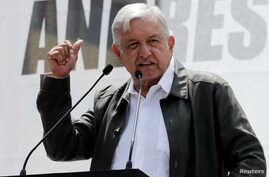 Mexico's President-elect Andres Manuel Lopez Obrador thanks supporters for his victory in the July 1 election, in Mexico City, Sept. 29, 2018. Lopez Obrador takes the oath of office Saturday.