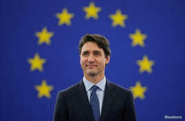 Canada's Prime Minister Justin Trudeau arrives to adress the European Parliament in Strasbourg, France, Feb. 16, 2017.