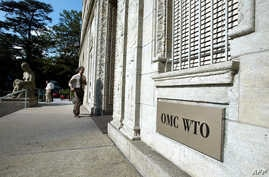 A 19 August 2003 photo shows the entrance of the World Trade Organization (WTO) headquarter in Geneva, Switzerland.