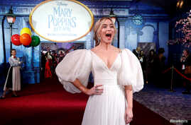 Cast member Emily Blunt reacts on the red carpet at the world premiere of Disney's movie Mary Poppins Returns in Los Angeles, California, U.S., November 29, 2018.