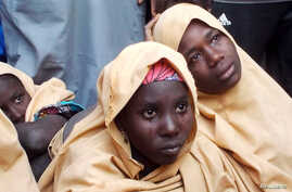 Some of the newly-released Dapchi schoolgirls are pictured in Jumbam village, Yobe State, Nigeria  March 21, 2018.