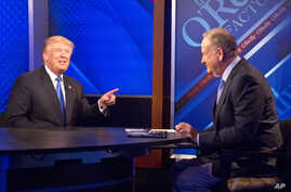 """Republican presidential candidate Donald Trump, left, is interrviewed by Bill O'Reilly on Fox's news talk show """"The O'Reilly Factor,"""" Nov. 6, 2015, in New York."""