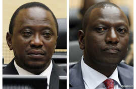 Combination picture shows Kenya's then-finance minister Uhuru Kenyatta and Kenya's former Higher Education Minister William Ruto at the International Criminal Court (ICC) in The Hague in these April 8, 2011 (L)  and September 1, 2011 file photos.