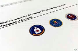 A part of the declassified version Intelligence Community Assessment on Russia's efforts to interfere with the U.S. political process is photographed in Washington, Jan. 6, 2017.