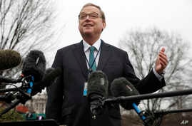 FILE - Kevin Hassett, chairman of the White House Council of Economic Advisers, speaks to reporters, Jan. 3, 2019, outside the White House in Washington.