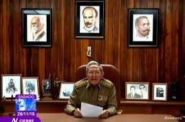 Cuba's President Raul Castro announces the death of his brother, revolutionary leader Fidel Castro, in a still image from government television in Havana, Cuba Nov. 26, 2016.