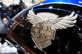 FILE - A Harley Davidson emblem is seen on a fuel tank of a motorcycle at the Dillon Brothers Harley Davidson dealership in Omaha, Neb., June 26, 2018.