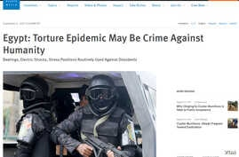 A screenshot of the Human Rights Watch's website report on systematic torture in Egypt,Sept. 6, 2017.